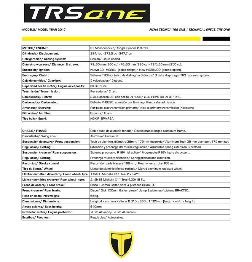 ficha tecnica trs one 2017