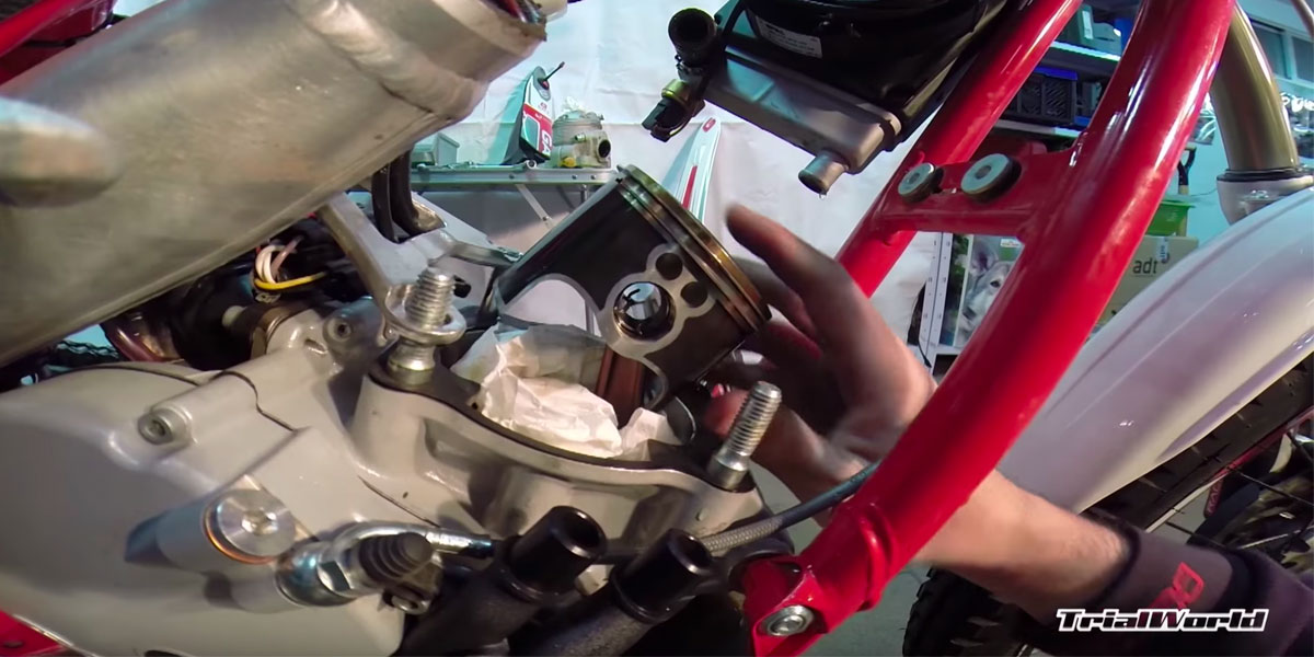 cambio cilindro piston moto trial