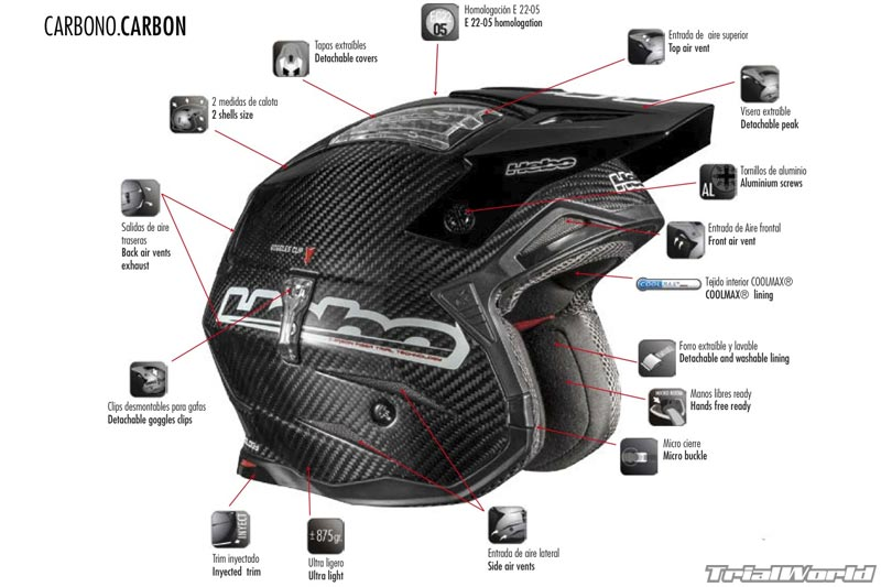 casco trial hebo carbono